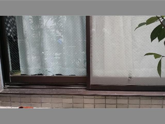割れたテラスガラスと破れた網戸の交換/大田区 戸建て